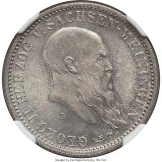 Saxe-Meiningen. Georg II 2 Mark 1901-D MS66 NGC,...