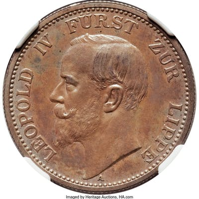 Lippe-Detmold. Leopold IV Proof 2 Mark 1906-A PR64 NGC,...