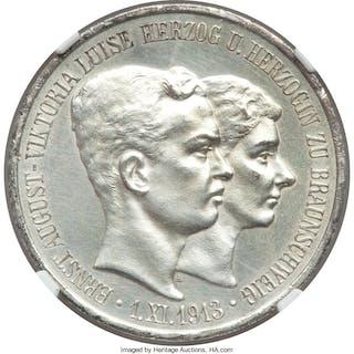 Brunswick-Wolfenbüttel. Ernst August 3 Mark 1915-A UNC Details (Cleaned)