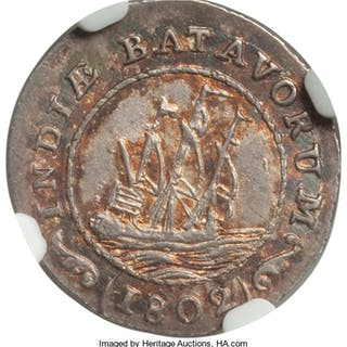 Dutch Colony. Batavian Republic 1/8 Gulden 1802 MS64 NGC,...