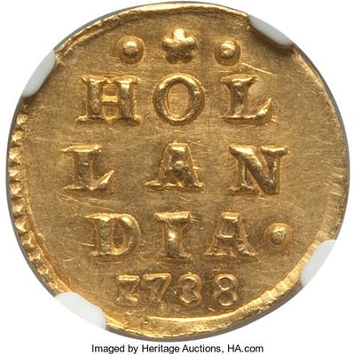 Holland. Provincial gold Stuiver 1738 MS63 NGC,...