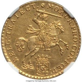 Utrecht. Provincial gold 7 Gulden 1750/49 UNC Details (Cleaned) NGC,...