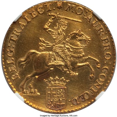 Utrecht. Provincial gold 14 Gulden 1763 UNC Details (Cleaned) NGC,...