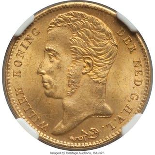 Willem I gold 10 Gulden 1825-B MS63 NGC,...