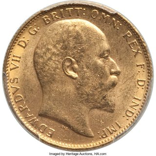 Edward VII gold Sovereign 1902-P MS63 PCGS,...
