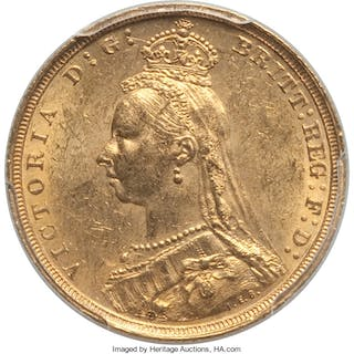 Victoria gold Sovereign 1893-S MS62 PCGS,...