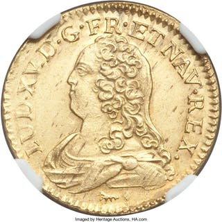Louis XV gold Louis d'Or 1739-A MS62 NGC,...