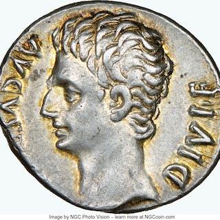 Augustus (27 BC-AD 14). AR denarius (18mm, 3.79 gm, 7h). NGC Choice