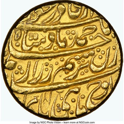 Durrani. Ahmad Shah gold Mohur ND (1754-1757) MS63 NGC,...