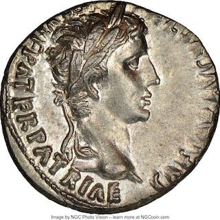 Augustus (27 BC-AD 14). AR denarius (19mm, 3.90 gm, 9h). NGC MS 4/5 - 4/5....