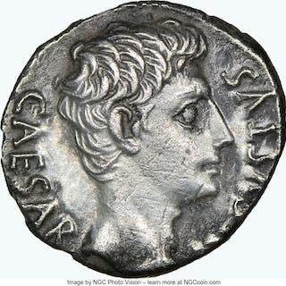 Augustus (27 BC-AD 14). AR denarius (18mm, 3.49 gm, 6h). NGC Choice