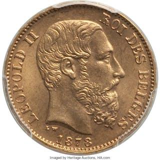 Leopold II gold 20 Francs 1878 MS66 PCGS,...