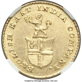 British India. Madras Presidency gold 5 Rupees (1/3 Mohur) ND (1820)