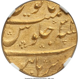 Mughal Empire. Aurangzeb Alamgir gold Mohur Year 3(2) (1687/8) AU58 NGC,...