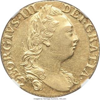 George III gold Guinea 1786 AU53 NGC,...