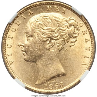 Victoria gold Sovereign 1866 MS62 NGC,...