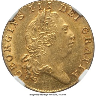 George III gold 1/2 Guinea 1803 MS62+ NGC,...
