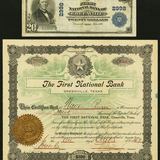 Greenville, TX - $20 1902 Plain Back Fr. 650 The First NB Ch. # 2998