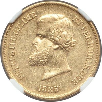 Pedro II gold 10000 Reis 1885 AU55 NGC,...