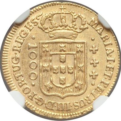 Maria I & Pedro III gold 1000 Reis 1778-(L) MS61 NGC,...