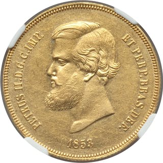 Pedro II gold 20000 Reis 1853 UNC Details (Cleaned) NGC,...
