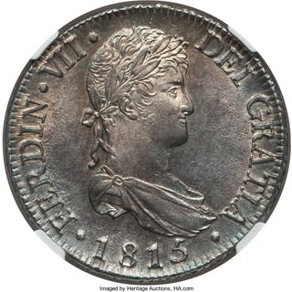 Ferdinand VII 8 Reales 1815 M-GJ MS63 NGC,...