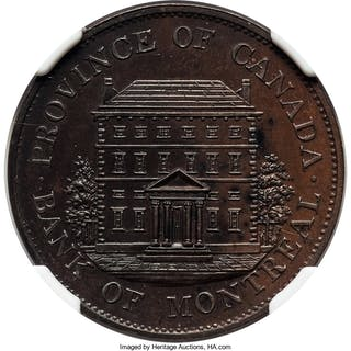 """Province of Canada. Bank of Montreal Proof """"Heavy Trees"""" 1/2 Penny"""
