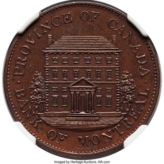 Province of Canada. Bank of Montreal bronzed Proof 1/2 Penny Token