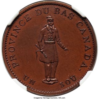 Lower Canada. City Bank bronzed Proof 1/2 Penny Token 1837 PR63 Brown NGC,...