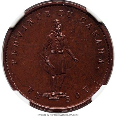 Province of Canada. Quebec Bank bronzed Specimen 1/2 Penny Token 1852