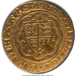 Edward III (1327-1377) gold 1/4 Noble ND (1361-1369) XF40 NGC,...