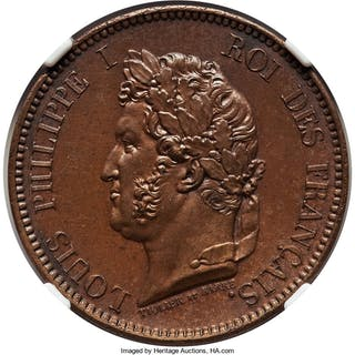 Louis Philippe I Proof 5 Centimes 1839-A PR64 Brown NGC,...
