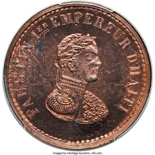 Faustin I copper Specimen Pattern 6 Centimes 1850 SP64 Red and Brown PCGS,...