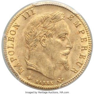 Napoleon III gold 5 Francs 1866-A MS63 PCGS,...