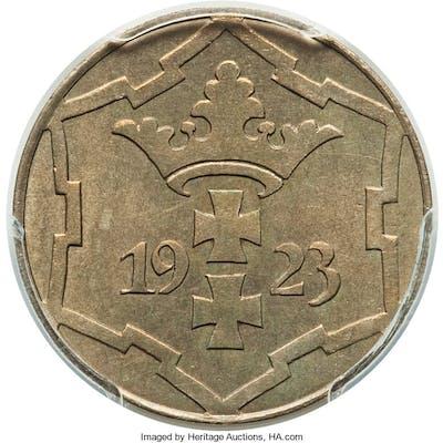 Free City Proof 10 Pfennig 1923 PR64 PCGS,...