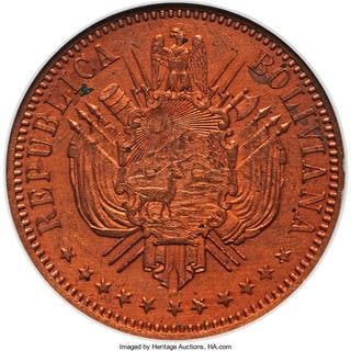Republic copper Proof Pattern Boliviano 1868 PR64 Red NGC,...