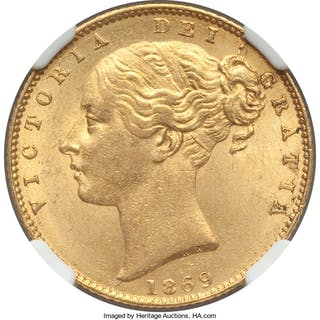 Victoria gold Sovereign 1869 MS63 NGC,...