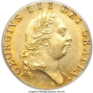 George III gold 1/2 Guinea 1787 MS62 PCGS,...