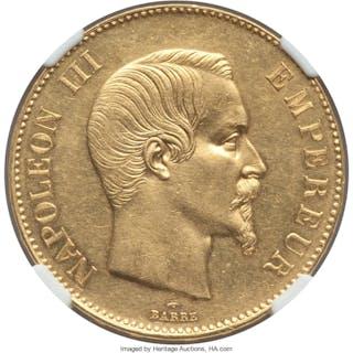 Napoleon III gold 100 Francs 1858-A AU58 NGC,...