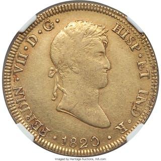 Ferdinand VII gold 8 Escudos 1820 LM-JP AU Details (Obverse Scratched) NGC,...
