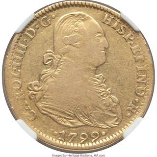 Charles IV gold 4 Escudos 1799 Mo-FM VF Details (Reverse Damage) NGC,...