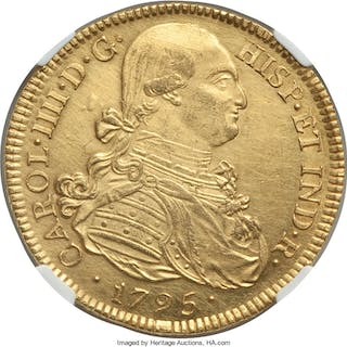 Charles IV gold 8 Escudos 1795 P-JF UNC Details (Cleaned) NGC,...