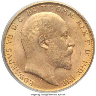 Edward VII gold Sovereign 1904 MS63 PCGS,...