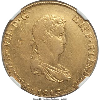 Ferdinand VII gold 8 Escudos 1813 LM-JP AU Details (Cleaned) NGC,...