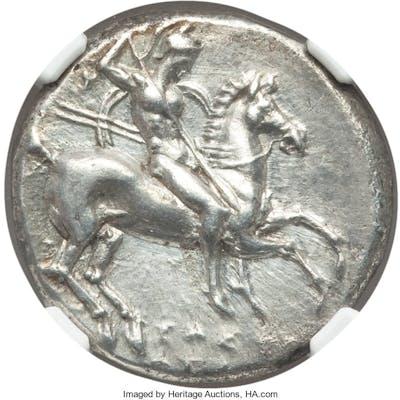 CALABRIA. Tarentum. Time of Pyrrhus of Epirus (ca. 281-240 BC). AR