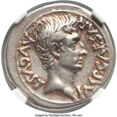 Augustus (27 BC-AD 14). AR denarius (19mm, 3.98 gm, 9h). NGC Choice
