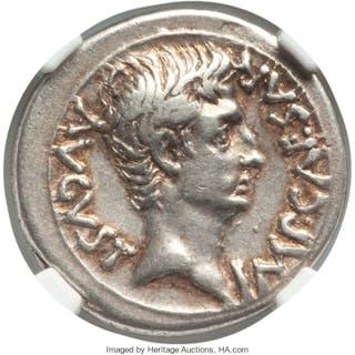 Augustus (27 BC-AD 14). AR denarius (19mm, 3.98 gm, 9h). NGC Choice