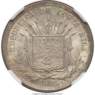 Republic 25 Centavos 1893-HEATON MS67 NGC,...