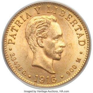 Republic gold 2 Pesos 1916 MS64 PCGS,...