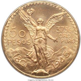 Estados Unidos gold 50 Pesos 1945 MS66 PCGS,...